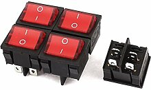 5PCS Rote Lampe 4 Pins DPST On / Off-Schalter AC