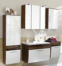 5tlg Badezimmer in Hochglanz weiß - Walnuss