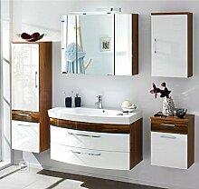 5tlg Badmöbel Hochglanz weiß-Walnuss Badezimmer Hochschrank Spiegelschrank