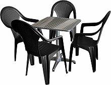 5tlg. Balkonmöbel Bistro Set Gartengarnitur Sitzgruppe Terrassenmöbel - Bistrotisch, 60x60cm, Aluminium + 4x Stapelstuhl, Rattan-Look, Kunststoff