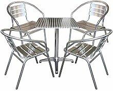 5tlg Balkonmöbel Terrassenmöbel Bistro Set 4x Aluminium Bistrostuhl Stapelstuhl + Bistrotisch Klapptisch 60x60cm Sitzgruppe Sitzgarnitur Gartenmöbel Gartengarnitur Bistromöbel