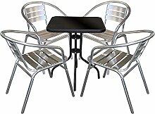 5tlg Balkonmöbel Terrassenmöbel Bistro Set Aluminium Bistrostuhl Stapelstuhl Bistrotisch Schwarz Glastisch 60x60cm Sitzgruppe Sitzgarnitur