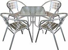 5tlg. Bistrogarnitur Bistro-Set Balkonmöbel Bistrotisch Glastisch 60x60cm + Aluminium Bistrostühle Stapelstühle Terrassenmöbel Sitzgarnitur Sitzgruppe Silber