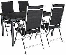 5tlg. Gartengarnitur Alu Glastisch 150x90cm + 4 Hochlehner 7-fach verstellbar Anthr./Silber / Gartenmöbel Terrassenmöbel Sitzgruppe Sitzgarnitur