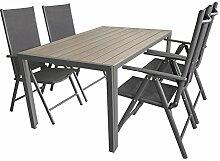 5tlg. Gartengarnitur, Aluminium Gartentisch mit