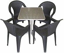 5tlg. Gartengarnitur Balkonmöbel Terrassenmöbel Set Sitzgruppe Stapelstuhl Aluminium Bistrotisch 60x60cm