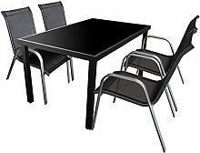 5tlg. Gartengarnitur Sitzgruppe 150x90cm Terrassenmöbel Aluminium Glastisch Stapelstuhl Textilenbespannung Sitzgarnitur Silber Schwarz