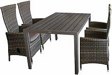 5tlg. Gartenmöbel Terrassenmöbel Set Gartengarnitur Sitzgruppe Gartentisch Polywood 150x90cm + 4x Poly-Rattan Gartensessel braun-meliert, stufenlos verstellbar + Kissen