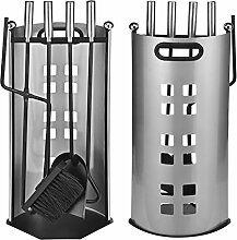 5tlg. Kaminbesteck aus Metall Kaminzubehör Kamingarnitur Kamin Ofen Set mit Tragegriff