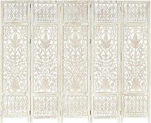5tlg. Raumteiler Handgeschnitzt Weiß 200×165cm