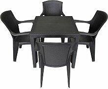 5tlg. Sitzgruppe Balkonmöbel Set Sitzgarnitur 79x79cm Rattan-Look Vollkunststoff Terrassenmöbel Stapelstuhl Schwarz