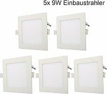 5x 9W LED Einbaustrahler Panel Spot Einbauleuchten