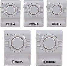 5x Alarm Sirene Einbruchschutz Vibrationsalarm Glasbruchmelder Glasbruchalarm Fensteralarm Glasbruchsensor Fenster drahtlos ohne Kabel