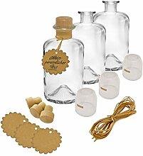 5x Apothekerflaschen Glas Geschenk Komplettset
