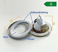 5x Bad Einbaustrahler GU10 GU5.3 Einbaurahmen weiss super flach rund Dusche Spot Lampe Badleuchten Deckenleuchte