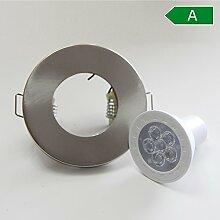 5x Badezimmer Einbaustrahler GU10 GU5.3 Einbaurahmen gebürstet flach rund IP44 Spot Lampe Badbeleuchtung Panel