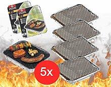 5x Einweggrill Einmalgrill Campinggrill Holzgrill Grill aus Aluminium zu Grillen Aluschale mit Kohle Holzkohle Picknickgrill Holzkohlegrill Grillkohle