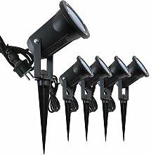 5x Evolution LED Gartenstrahler mit Erdspieß