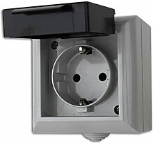 5x Feuchtraum Steckdose Aufputz Steckdose AP IP54 16A/250V grau