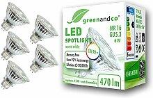 5x greenandco® CRI90+ LED Spot ersetzt 45 Watt