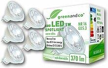 5x greenandco® LED Spot ersetzt 33 Watt MR16