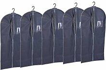 5x Hochwertige Kleiderhülle in grau - 135 x 60 cm / 170 g pro Stück - Kleidersack Kleider Schutzhülle Kleidersäcke