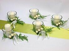 5x Kerze 5x Votivglas Kerzenring Weiß Rosen Deko