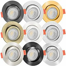 5x LED Einbaustrahler Aluminium rund 230V | 90 Cri