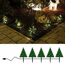 5x Tanne mit LED beleuchtet für Blumenkasten Garten Deko Weihnachten von Gartenpirat®