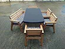 6'Tisch, 1Bank und 4Stühle. Solide Holz