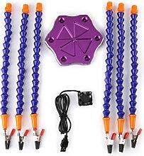 6 Arm Lötstation mit USB Ventilator für RC Löten Reparatur Modellierung Hobby und Handwerk Schmuck Machen Zubehör(Lila Sockel)