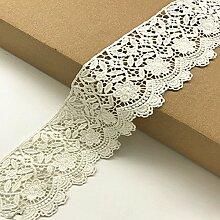 6 CM Breite Europa Blume muster Inelastische Stickerei Spitzenbesatz, Vorhang Tischdecke Slipcover Braut Selbermachen-Kleidung/Zubehör (3,7 Meter in einem Paket) (weiß)