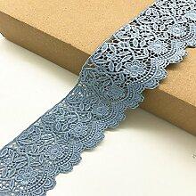 6 CM Breite Europa Blume muster Inelastische Stickerei Spitzenbesatz, Vorhang Tischdecke Slipcover Braut Selbermachen-Kleidung/Zubehör (3,7 Meter in einem Paket) (hellblau)