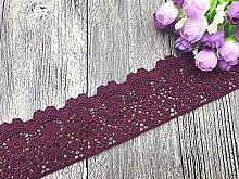 6 CM Breite Europa Blume muster Inelastische Stickerei Spitzenbesatz, Vorhang Tischdecke Slipcover Braut Selbermachen-Kleidung/Zubehör (3,7 Meter in einem Paket) (weinrot)