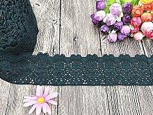 6 CM Breite Europa Blume muster Inelastische Stickerei Spitzenbesatz, Vorhang Tischdecke Slipcover Braut Selbermachen-Kleidung/Zubehör (3,7 Meter in einem Paket) (schwarz-grün)