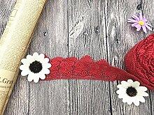 6 CM Breite Europa Rose muster Inelastische Stickerei Spitzenbesatz, Vorhang Tischdecke Slipcover Braut Selbermachen-Kleidung/Zubehör (3,7 Meter in einem Paket) (rot)