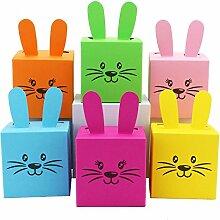 6 DIY Osterhasen Kisten zum selber Basteln und Befüllen - ein Geschenk von Herzen - zu Ostern - 6 bunte Boxen - Schachteln zur Dekoration