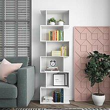 6 Ebenen Bücherregal Regal Weiß Schmal Holz