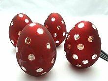6 Eier Bauernsilber Rot Gepunktet Dots EDEL Ostern Tischdeko Dekoration Country Home Wohnaccessoire Deko Frühling
