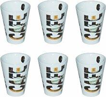 6 Espressobecher mit Kaffee Motiv - Café- Espresso