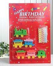 6 Geburtstagskerzen mit Haltern, Design Zug