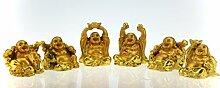6 Happy Buddha Glücksbringer Figuren