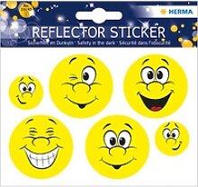6 HERMA reflektierende Aufkleber Smiley