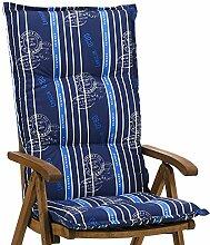 6 Hochlehner Auflagen 8 cm dick 120 cm lang in blau Ibiza 20578-100 (ohne Stuhl)