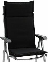 6 Hochlehner Sessel Auflagen Kuba 50234-800 in uni schwarz 121 cm lang (ohne Sessel)