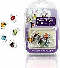6 Klammern / Clips Marienkäfer, für Orchideen, Pflanzenclip Blütenstängel im Blisterpack