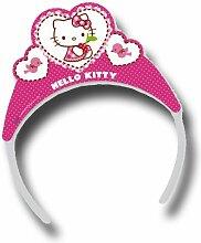6 Krönchen HELLO KITTY HEARTS mit Sticker für Kindergeburtstag // Kinder Geburtstag Karten Katzen Mädchen Rosa Pink Tiaras Diademe