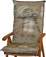 6 Luxus Auflagen für Hochlehner 9 cm dick mit Kopfkissen Miami 40260-620 (ohne Stuhl)