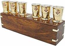 6 Messing-Schnapsbecher mit Kupfer-Ankergläsern  