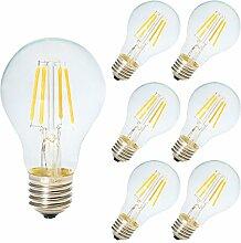 6 Pack Dimmbare LED E27 4W A60 Filament Glühbirne